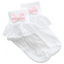 Girls White Lace Socks with Pink Pearl Bow