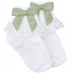 Girls White Lace Socks with Sage Green Satin Bows