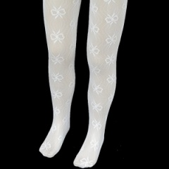 Girls White Nottingham Lace Christening Wedding Tights