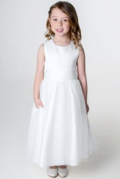 Girls White Organza & Diamante Dress