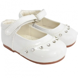Girls White Patent 'Fairy' Diamante Special Occasion Shoes