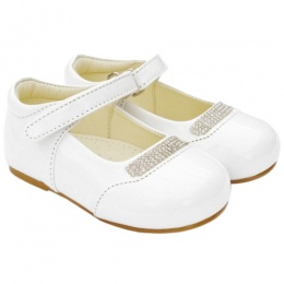 Girls White Patent 'Princess' Diamante Special Occasion Shoes