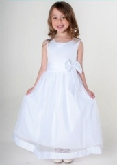 Girls White Satin Bow Dress