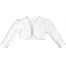 Girls White Embroidered Sequin Long Sleeved Bolero