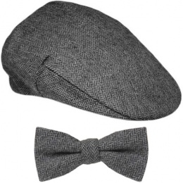 Boys Grey Tweed Herringbone Flat Cap & Bow Tie