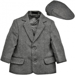 Boys Grey Tweed Herringbone Jacket & Flat Cap