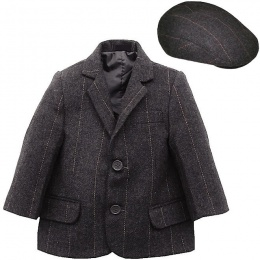 Boys Grey Tweed Check Jacket & Flat Cap
