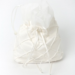 Girls Ivory Duchess Satin Bead Quilted Dolly Bag