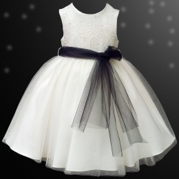 Girls Ivory Diamante & Organza Dress with Black Sash
