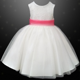 Girls Ivory Diamante & Organza Dress with Coral Sash