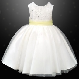 Girls Ivory Diamante & Organza Dress with Lemon Sash