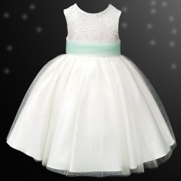 Girls Ivory Diamante & Organza Dress with Mint Sash