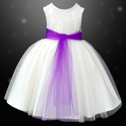 Girls Ivory Diamante & Organza Dress with Purple Sash