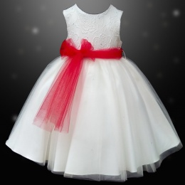 Girls Ivory Diamante & Organza Dress with Red Sash