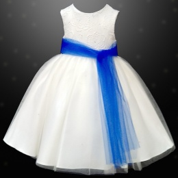 Girls Ivory Diamante & Organza Dress with Royal Blue Sash