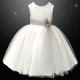 Girls Ivory Diamante & Organza Dress with Silver Sash