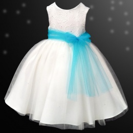Girls Ivory Diamante & Organza Dress with Turquoise Sash