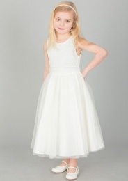 Girls Ivory Diamante & Organza Sash Dress