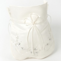 Girls Ivory Duchess Satin Floral Dolly Bag