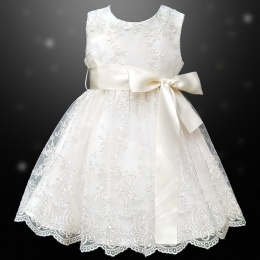 Girls Ivory Floral Lace Dress with Satin Sash