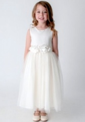 Girls Ivory Crystal Flower Petals Dress