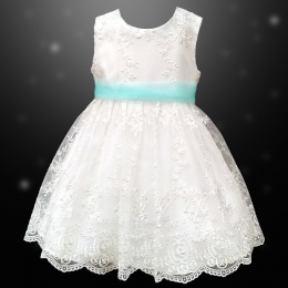 Girls Ivory Floral Lace Dress with Aqua Organza Sash