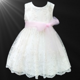 Girls Ivory Floral Lace Dress with Baby Pink Organza Sash