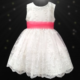 Girls Ivory Floral Lace Dress with Coral Organza Sash