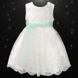 Girls Ivory Floral Lace Dress with Mint Organza Sash