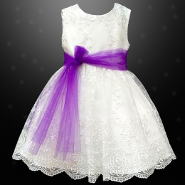 Girls Ivory Floral Lace Dress with Purple Organza Sash