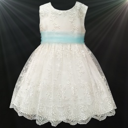 Girls Ivory Floral Lace Dress with Sky Blue Organza Sash