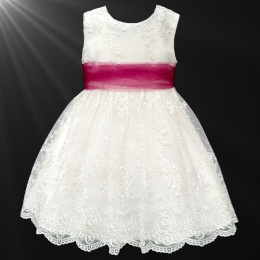Girls Ivory Floral Lace Dress with Wine Organza Sash