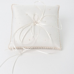 Ivory Pearl Beaded Square Satin Ring Cushion