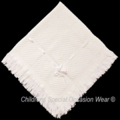 Ivory Baby Satin Ribbon Trim Christening Shawl