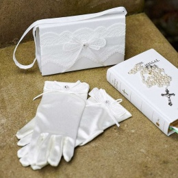 Girls Ivory Lace & Ribbon Satin Bag & Gloves Set - Emma & Maria