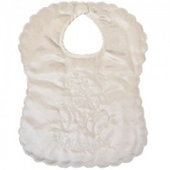 Ivory Satin Teddy My Christening Day Bib