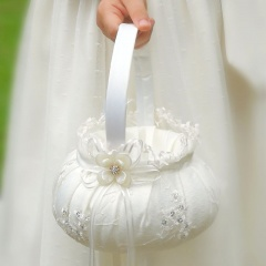 Girls Ivory Organza & Sequin Flower Petal Basket