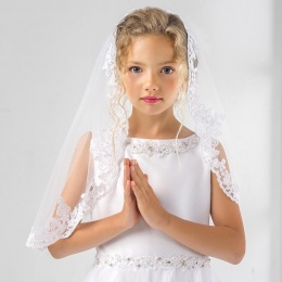 Girls Fine Lace Communion Veil by Lacey Bell Style LV19