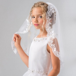 Girls Lace & Silver Thread Communion Veil by Lacey Bell Style LV20