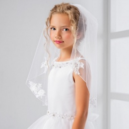 Girls Floral Lace Communion Veil by Lacey Bell Style LV26