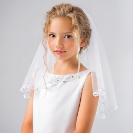 Girls Two Tier Sparkle Communion Veil by Lacey Bell Style LV50