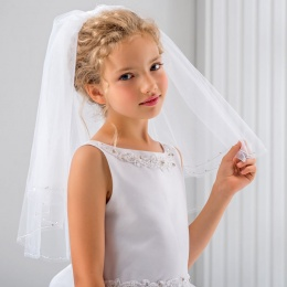 Girls Crystals & Silver Thread Communion Veil by Lacey Bell Style CV87