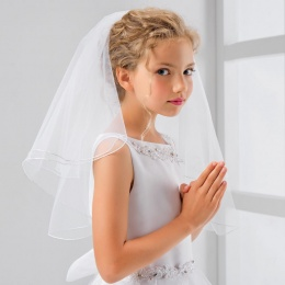Girls Silver Thread Pencil Edge Communion Veil by Lacey Bell Style PV83