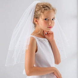 Girls Pearls & Crystals Communion Veil by Lacey Bell Style PV85
