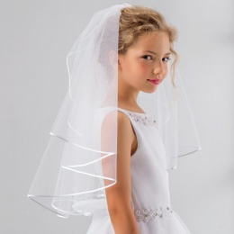 Girls Pearl Soft Tulle Communion Veil by Lacey Bell Style SV41P