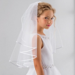 Girls Crystal Satin Edge Communion Veil by Lacey Bell Style SV41S