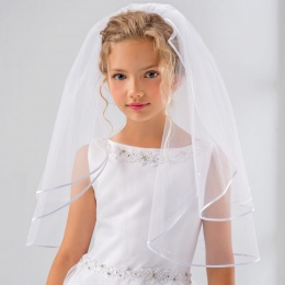 Girls Pearl Two Tier Communion Veil by Lacey Bell Style SV46