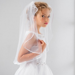 Girls Pearl Satin Edge Communion Veil by Lacey Bell Style SV48