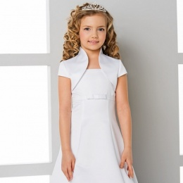 Girls High Neck Short Sleeve Satin Bolero by Lacey Bell Style CJ158