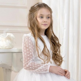 Girls Ivory Polka Dot Bolero by Lacey Bell Style CJ108